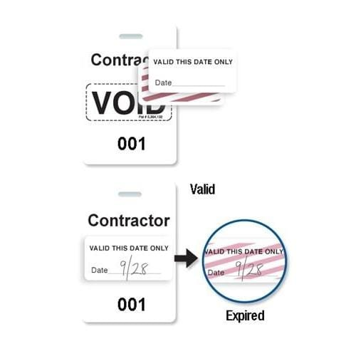 "Reusable White Voidbadge Seq. # 001-100 ""CONTRACTOR"""