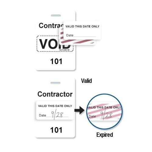 "Reusable White Voidbadge Seq. # 101-200 ""CONTRACTOR"""