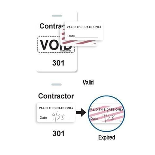 "Reusable White Voidbadge Seq. # 301-400 ""CONTRACTOR"""