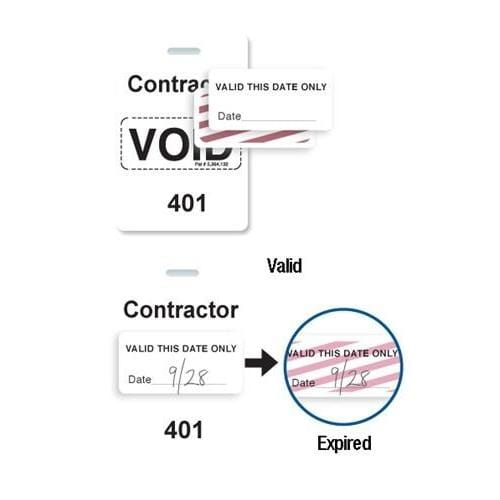 "Reusable White Voidbadge Seq. # 401-500 ""CONTRACTOR"""