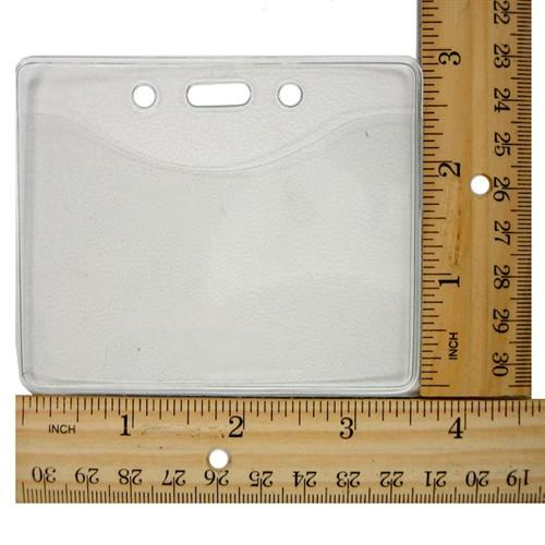 "1815-1000 ID badge holder showing dimensions with rulers width approx 3.5"" wide x 3"" high."