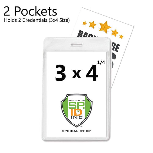 "Clear 3 1/4"" X 4 1/2"" Vertical Extra Large Badge Holder with Front And Back Pockets (P/N 1840-1610)"