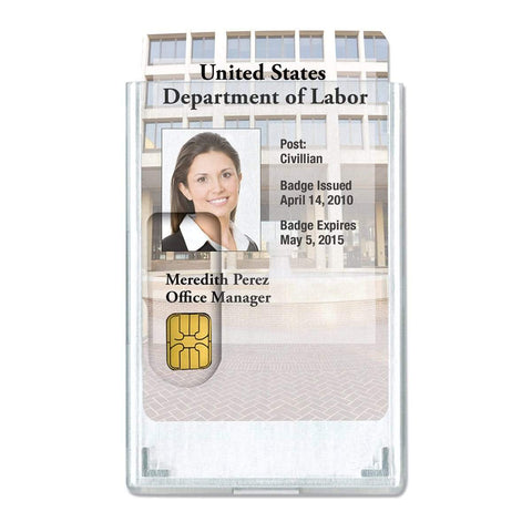 Frosted Vertical Rigid ID Badge Holder with Red Extractor Slide (P/N 1840-6566)