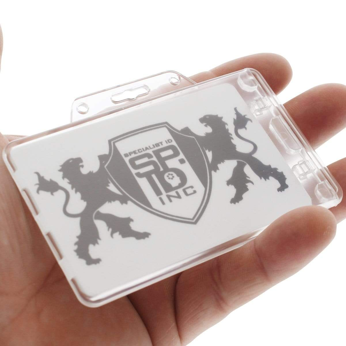 Clear Horizontal Permanent Locking Plastic Card Holder (P/N 1840-6040)