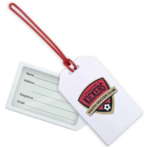 "Create Your Own Custom Rigid Plastic Luggage Tag Holder with 6"" Clear Loop"