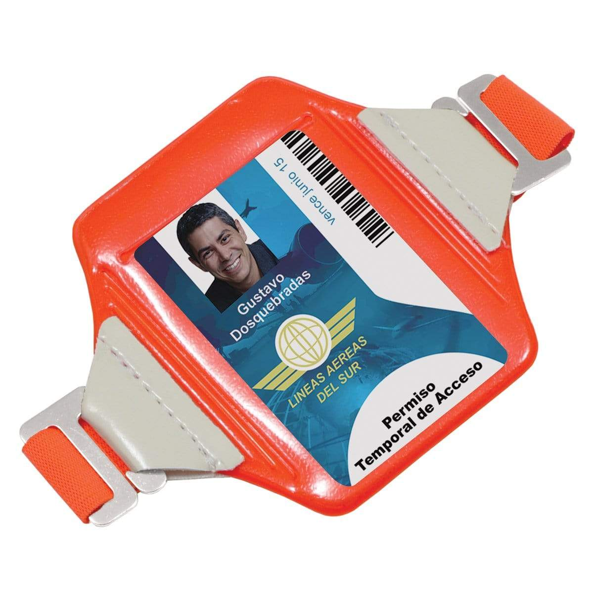 Reflective Bright Orange Arm Badge Holder with Glow-in-the-Dark Tabs and Included Armband
