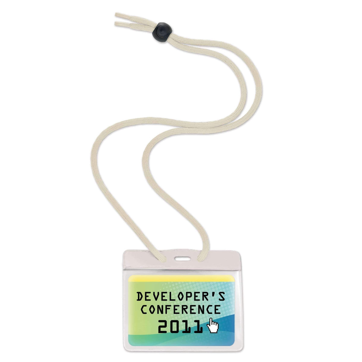 Government Size 3 3/8 X 2 9/16 Horizontal Color-Bar Badge Holder with Lanyard (1860-280X)