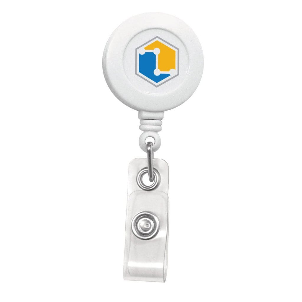 Custom Printed White Retractable Badge Reel