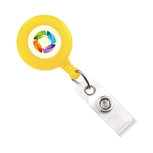Yellow Retractable Badge Reel with Custom Printed Logo