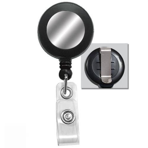 Black Badge Reel with Silver Metallic Sticker and Belt Clip (2120-3151)