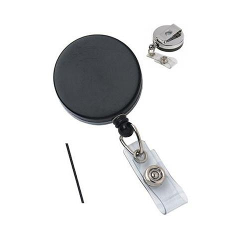 Black/Chrome Heavy Duty Badge Reel With Nylon Cord Clear Vinyl Strap And Belt Clip (P/N 2120-3310)