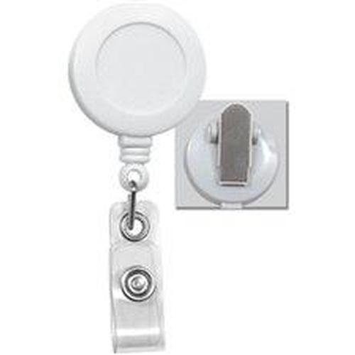 Buy Online Cheap, White Badge Reel W/ Clear Vinyl Strap & Spring Clip.  2120-4708