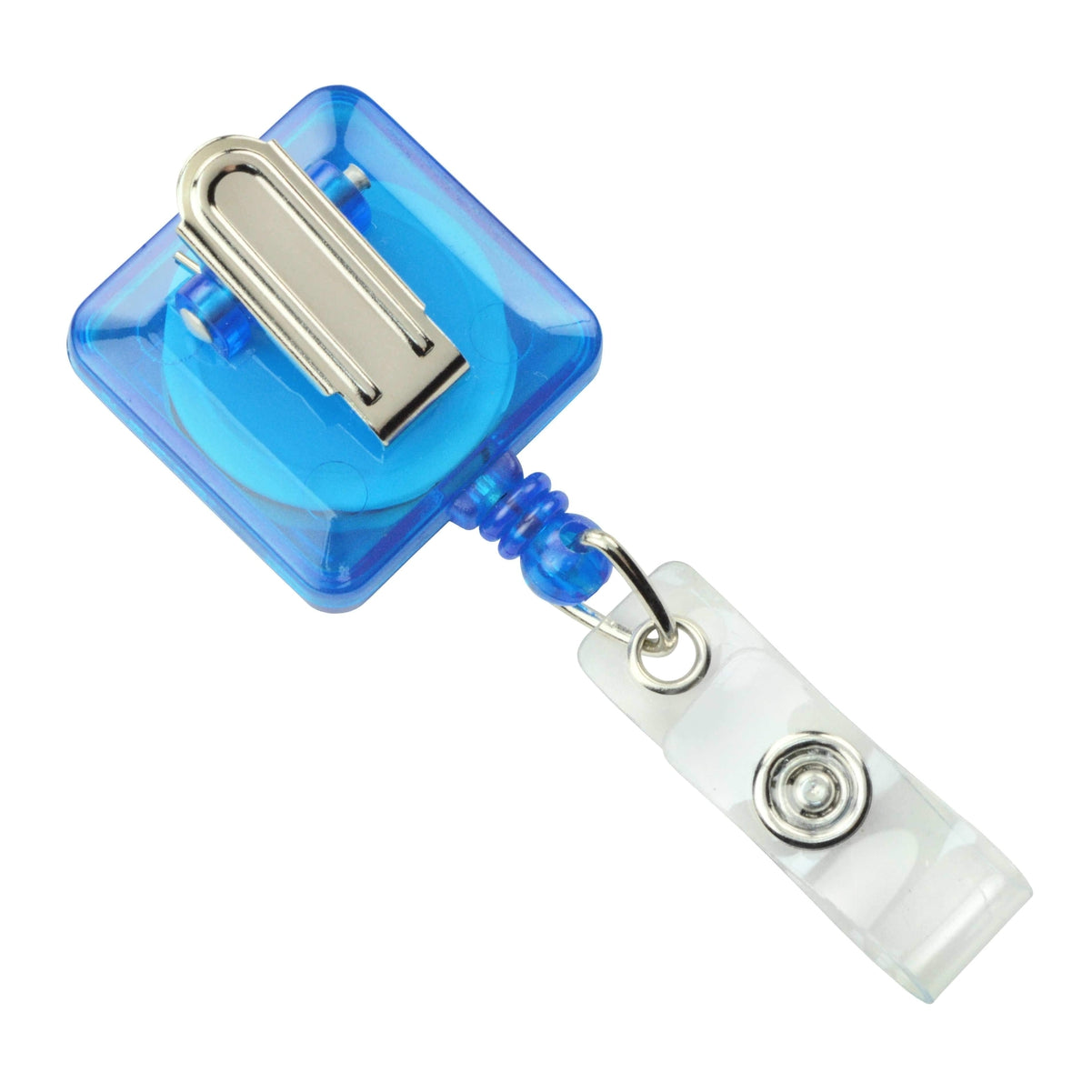 Showing back side of square translucent blue retractable badge reel with spring clip