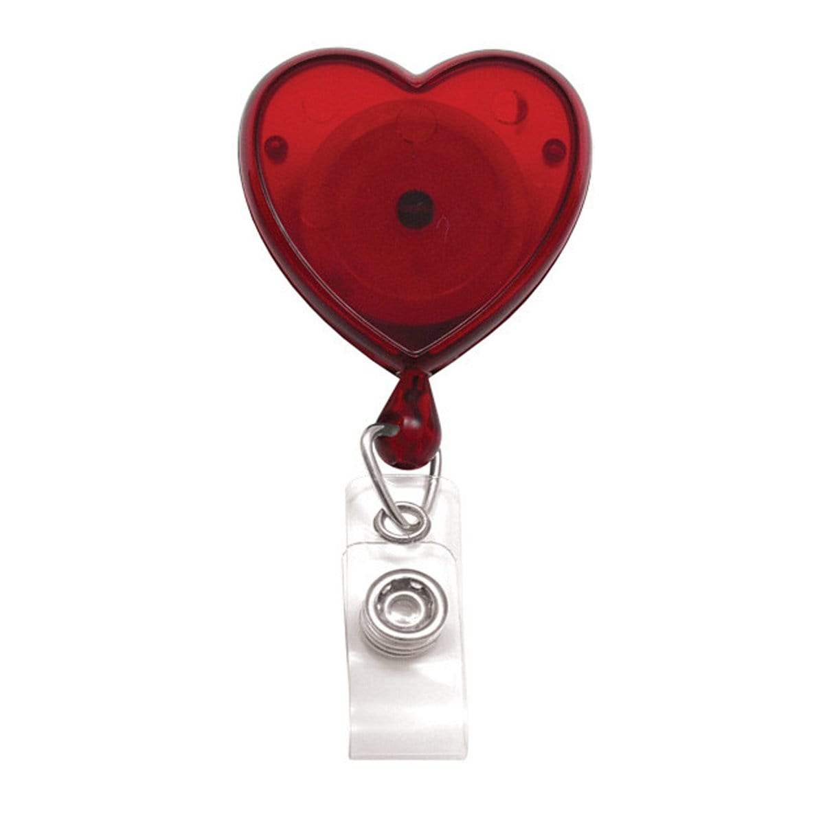 Translucent Red Heart Shaped Badge Reel With Rotating Spring Clip (P/N 2120-761X) 2120-7616