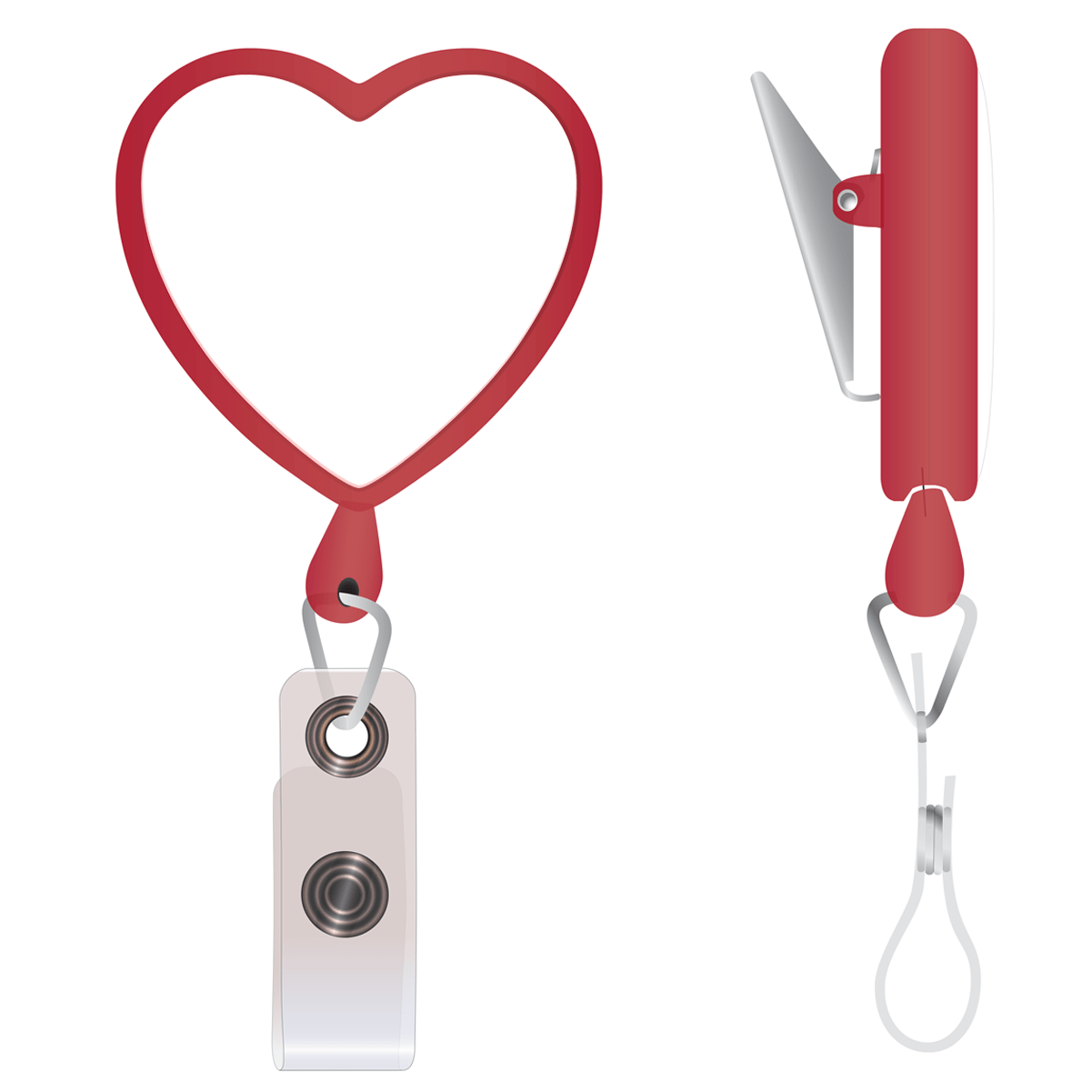 Custom Heart Shaped Badge Reel With Rotating Spring Clip