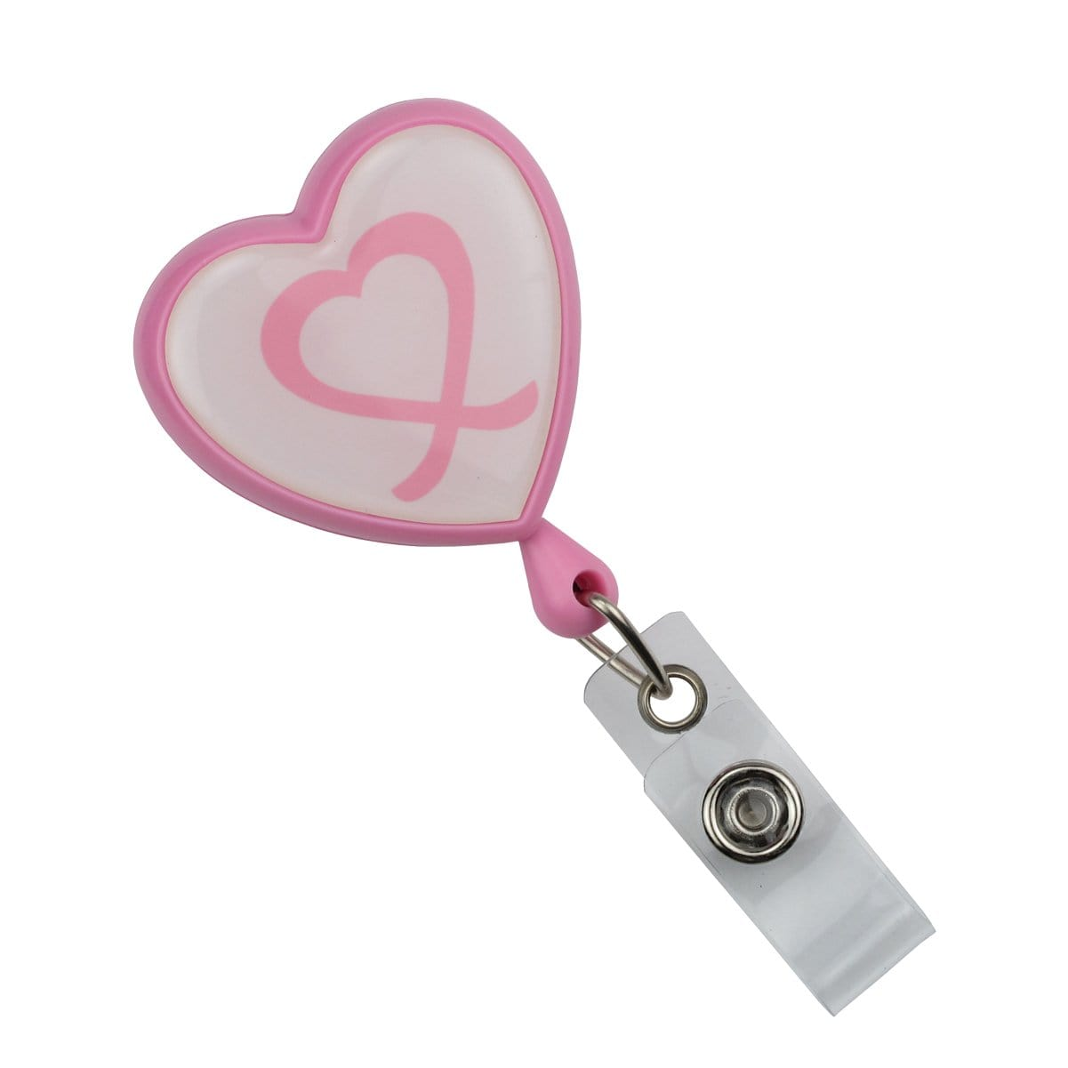"""Pink Heart Shaped Ribbon """"Awareness"""" Badge Reel with Swivel Spring Clip (P/N 2120-7630) 2120-7630"""