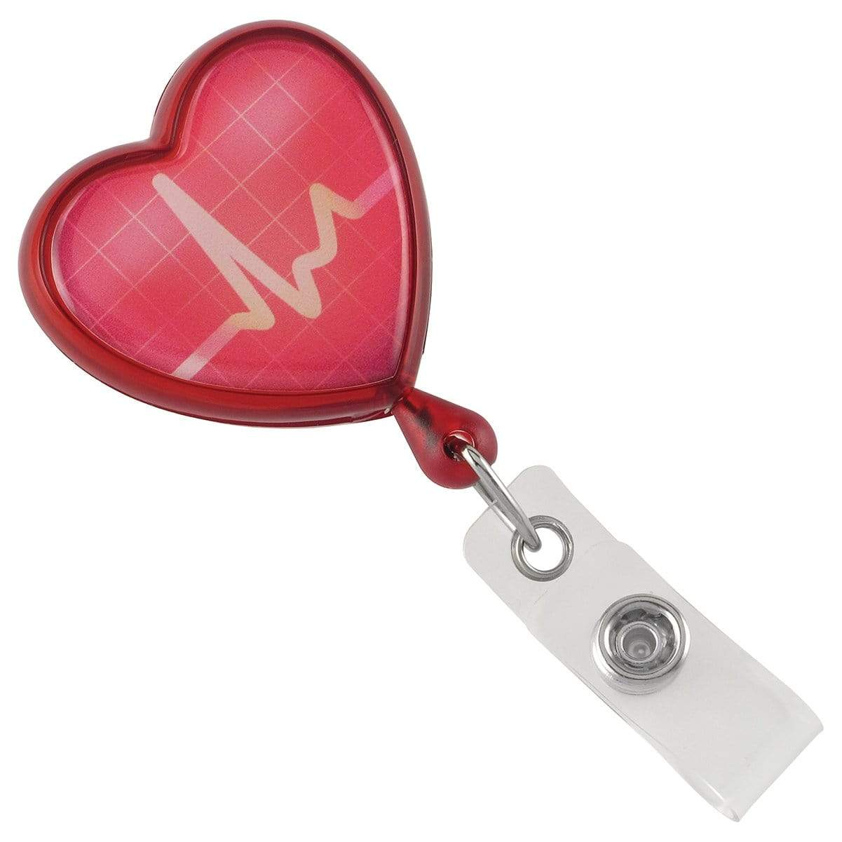 Heart Shaped EKG Themed Badge Reel with Swivel Spring Clip (2120-76XX)