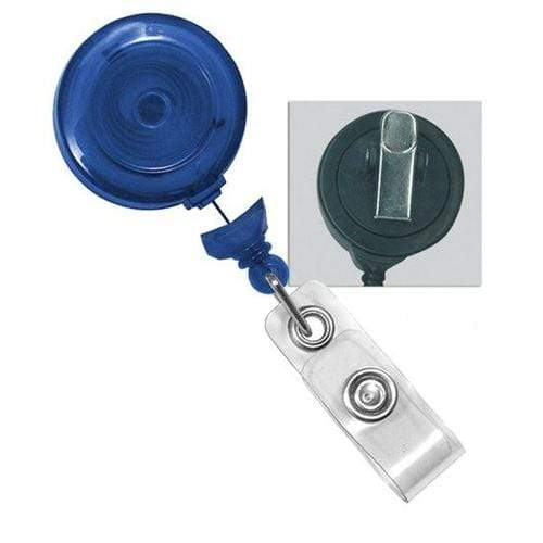 Buy Online Cheap, Translucent Blue Badge Reel W/ Clear Vinyl Strap & Swivel Spring Clip.  2120-7646