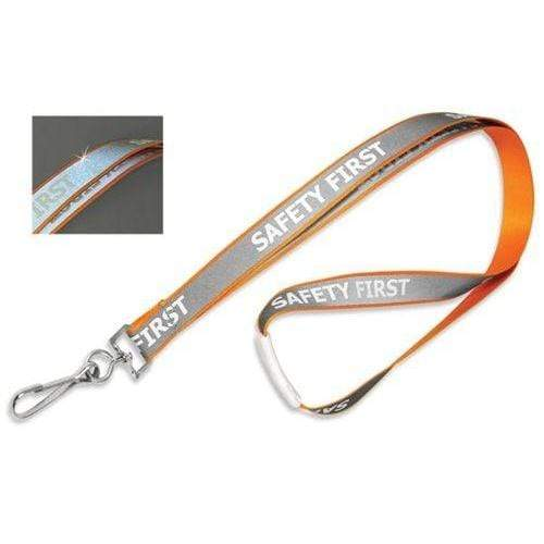 "Buy Online Cheap, Orange 5/8"" (16 Mm) Reflective Lanyard W/ ""Safety First"" Imprint & Nickel-Plated Steel Swivel Hook. 2135-2529"