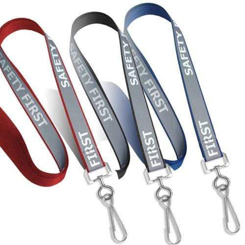 "Reflective ""Safety First"" Printed ID Neck Lanyard With Metal Swivel Hook 2135-25XX"