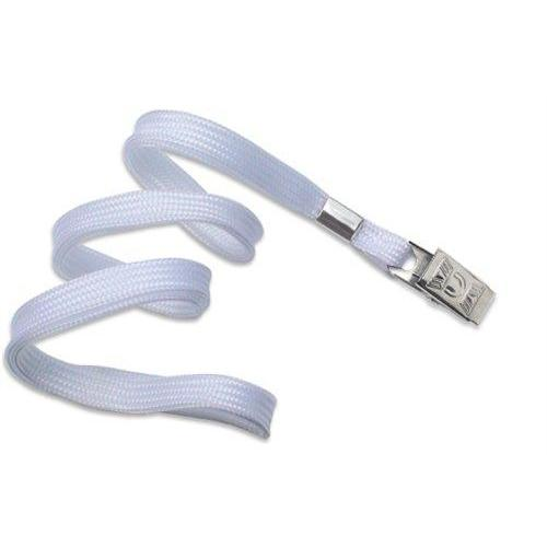 "Buy Online Cheap, White 3/8"" (10 Mm) Flat Braid Woven Lanyard W/ Nickel-Plated Steel Bulldog Clip 2135-3558"