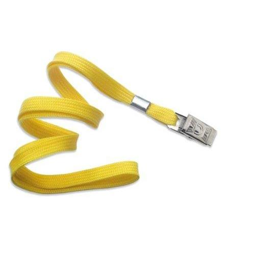 "Buy Online Cheap, Yellow 3/8"" (10 Mm) Flat Braid Woven Lanyard W/ Nickel-Plated Steel Bulldog Clip 2135-3559"