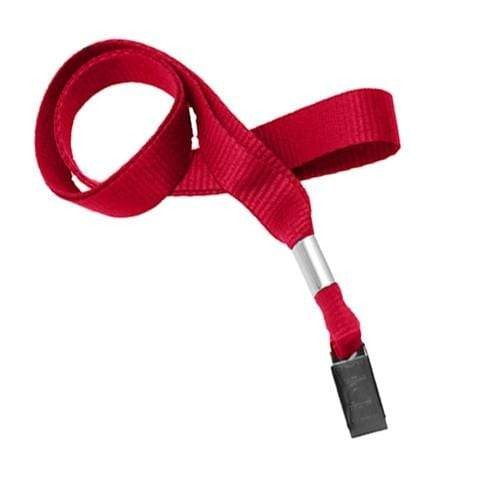 "Buy Online Cheap, Red 5/8"" (16 Mm) Microweave Polyester Lanyard W/ Nickel-Plated Steel Bulldog Clip. 2136-3556"
