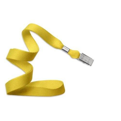 "Buy Online Cheap, Yellow 5/8"" (16 Mm) Microweave Polyester Lanyard W/ Nickel-Plated Steel Bulldog Clip. 2136-3559"