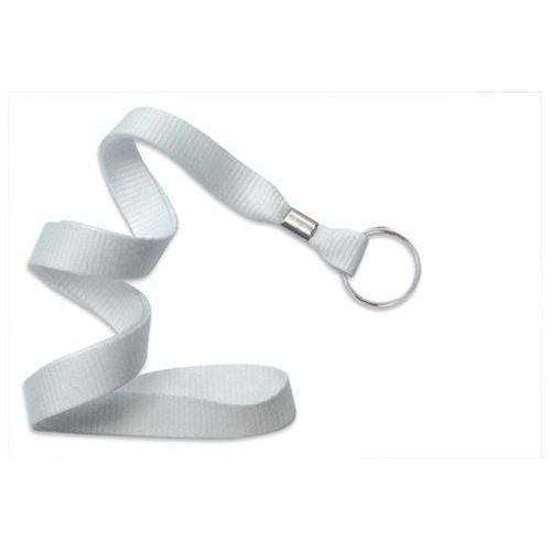 "Buy Online Cheap, White 5/8"" (16 Mm) Microweave Polyester Lanyard W/ Nickel-Plated Steel Split Ring. 2136-3658"