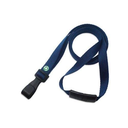 "Buy Online Cheap, Navy Blue Recycled Pet 3/8"" (10 Mm) Flat Lanyard  W/  Breakaway And ""No-Twist"" Wide Plastic Hook 2137-2058"