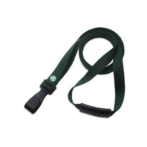 "Buy Online Cheap, Forest Green Recycled Pet 3/8"" (10 Mm) Flat Lanyard  W/  Breakaway And ""No-Twist"" Wide Plastic Hook 2137-2059"
