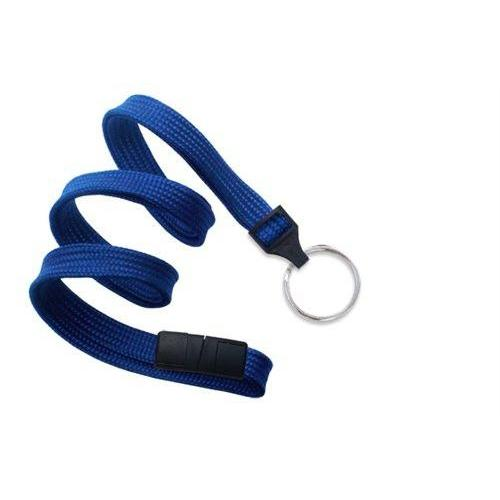 "Buy Online Cheap, Royal Blue 3/8"" (10 Mm) Flat Braid Breakaway Woven Lanyard W/ A Universal Slide Adapter & Nickel-Plated Steel Split Ring 2137-3652"