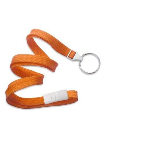 "Buy Online Cheap, Orange 3/8"" (10 Mm) Flat Braid Breakaway Woven Lanyard W/ A Universal Slide Adapter & Nickel-Plated Steel Split Ring 2137-3655"
