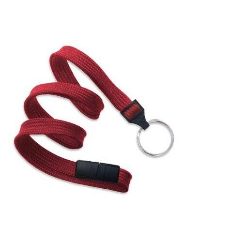 "Buy Online Cheap, Red 3/8"" (10 Mm) Flat Braid Breakaway Woven Lanyard W/ A Universal Slide Adapter & Nickel-Plated Steel Split Ring 2137-3656"