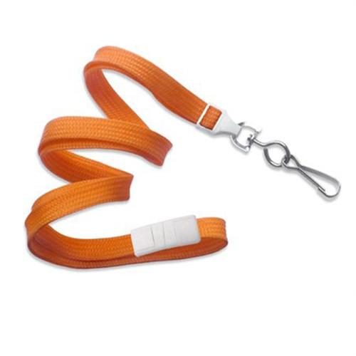 "Buy Online Cheap, Orange 3/8"" (10 Mm) Flat Braid Breakaway Woven Lanyard W/ A Universal Slide Adapter & Nickel-Plated Steel Swivel Hook 2137-5005"