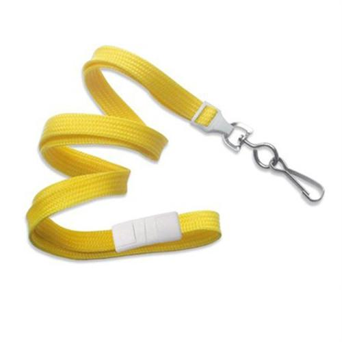 "Buy Online Cheap, Yellow 3/8"" (10 Mm) Flat Braid Breakaway Woven Lanyard W/ A Universal Slide Adapter & Nickel-Plated Steel Swivel Hook 2137-5009"
