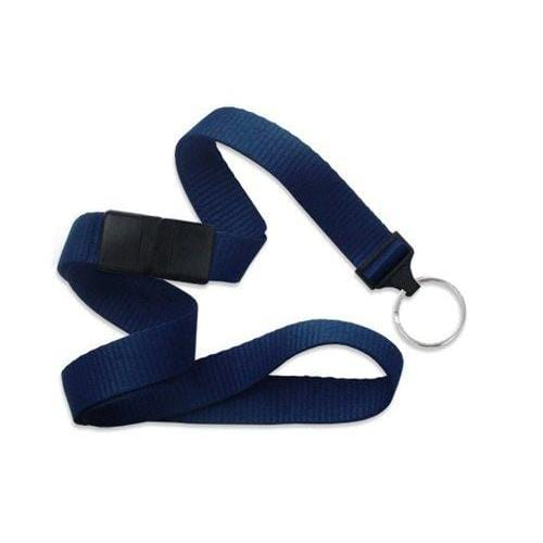 "Buy Online Cheap, Navy Blue 5/8"" (16 Mm) Microweave Polyester Breakaway Lanyard W/ A Universal Slide Adapter And Nickel-Plated Steel Split Ring. 2138-3653"