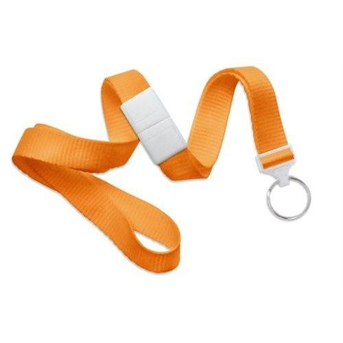"Buy Online Cheap, Orange 5/8"" (16 Mm) Microweave Polyester Breakaway Lanyard W/ A Universal Slide Adapter And Nickel-Plated Steel Split Ring. 2138-3655"