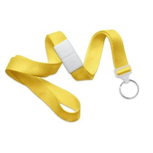 "Buy Online Cheap, Yellow 5/8"" (16 Mm) Microweave Polyester Breakaway Lanyard W/ A Universal Slide Adapter And Nickel-Plated Steel Split Ring. 2138-3659"