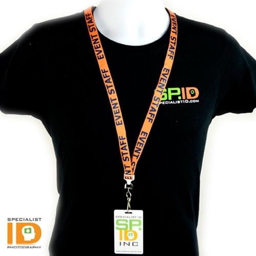 "Orange ""Event Staff"" Breakaway Flat Lanyard With Swivel Hook (2138-5200)"