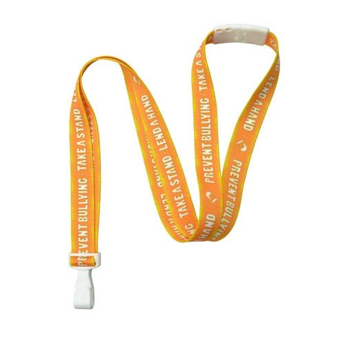 Orange Printed Bully Prevention Lanyard With Plastic Hook (P/N 2138-5240)