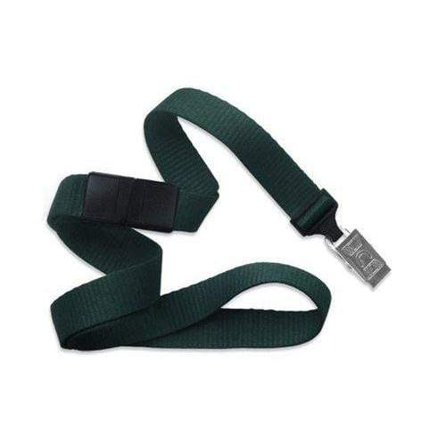 "Buy Online Cheap, Forest Green 5/8"" (16 Mm) Microweave Polyester Breakaway Lanyard W/ A Universal Slide Adapter And Nickel-Plated Steel Bulldog Clip. 2138-6014"