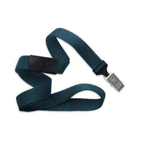 "Buy Online Cheap, Teal 5/8"" (16 Mm) Microweave Polyester Breakaway Lanyard W/ A Universal Slide Adapter And Nickel-Plated Steel Bulldog Clip. 2138-6018"