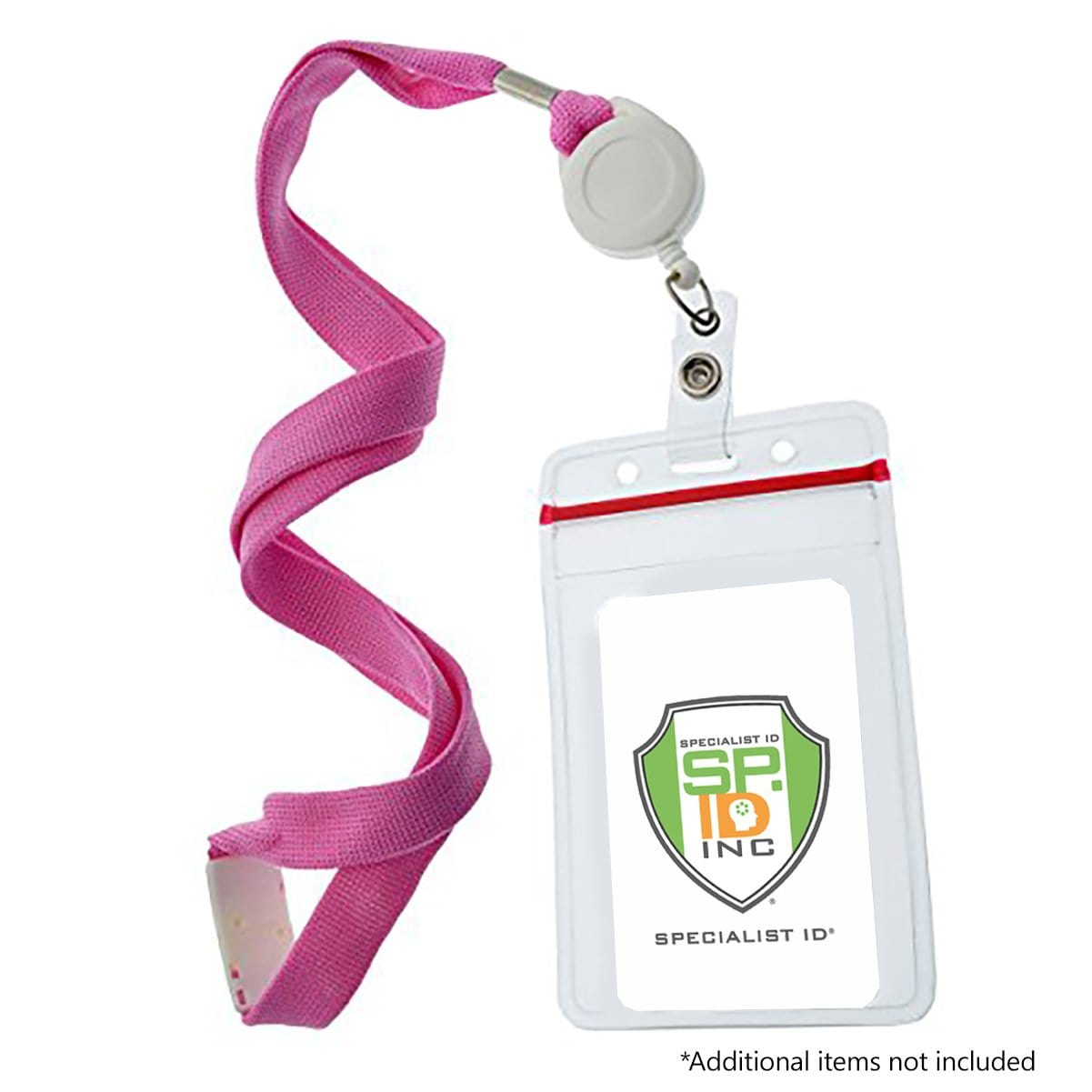 Custom Pink Breakaway Lanyard and Badge Reel Combo (2138-700P)