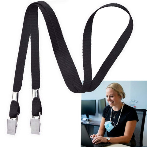 Flat Braid Breakaway Woven Lanyard With A Universal Slide Adapter And Black Oxide Swivel Hook 2137-3771
