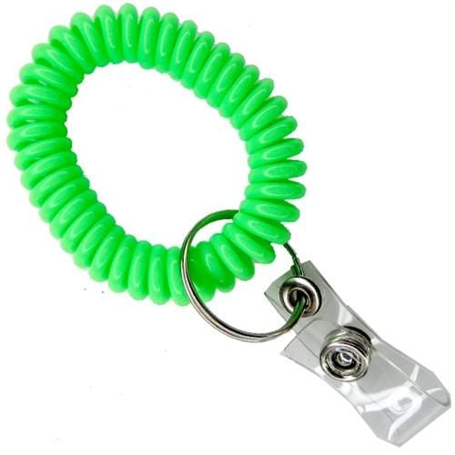 Buy Cheap! Wrist Key Chain ID Holder with Green Coil 2140-6204