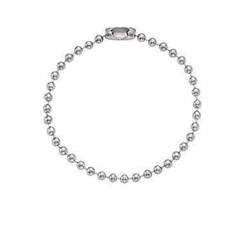 "Nickel-Plated Steel Ball Chain, 4 1/2"", No. 6 Bead Size 2450-1000"