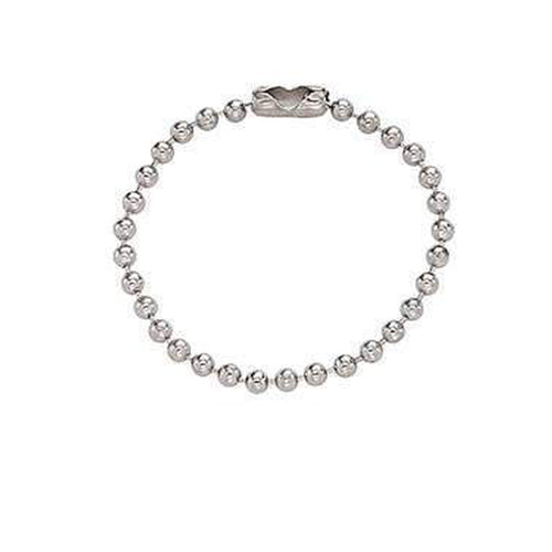 "Nickel-Plated Steel Ball Chain, 4"", No. 3 Bead Size (P/N 2450-1050)"