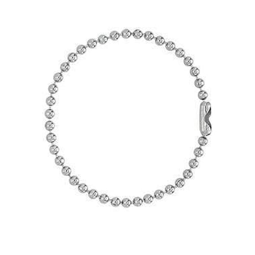"Nickel-Plated Steel Ball Chain, 5"", No. 4 Bead Size 2450-1080"