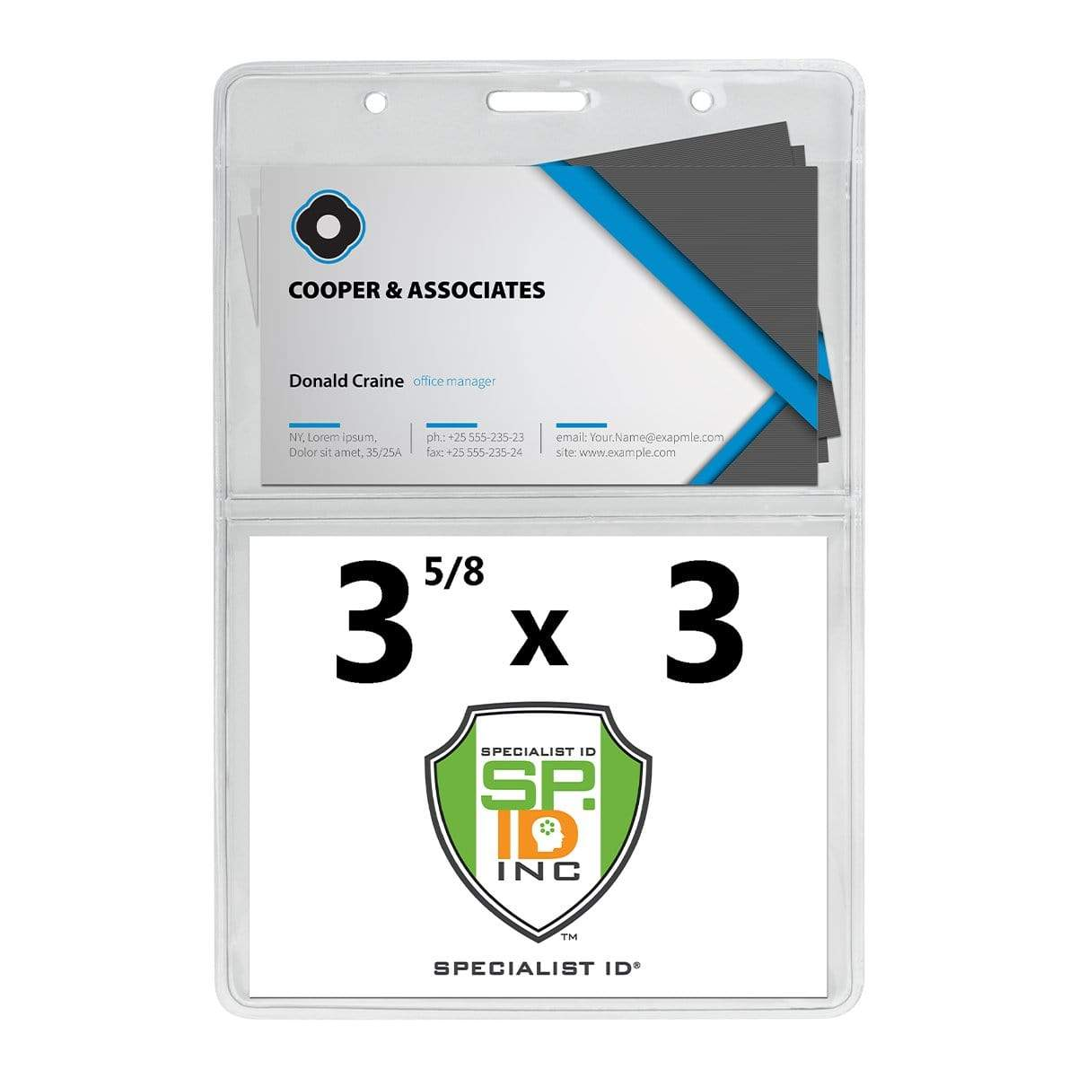 3 5/8 x 5 Special Event Badge & Credential Badge Holder with Business Card Pocket on Back (P/N 306-2P46)